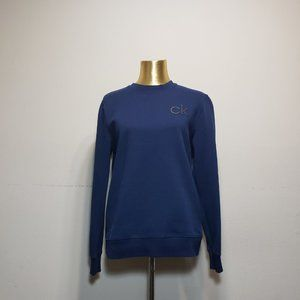 CALVIN KLEIN Navy Blue Logo Print Sweatshirt